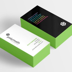 Polymath Marketing logo and business cards