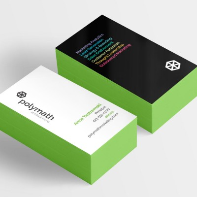Polymath Marketing logo and business cards